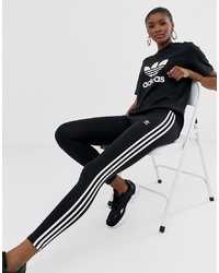 adidas Originals Adicolor Three Stripe Leggings In Black