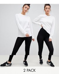 Asos Tall Asos Design Tall 2 Pack High Waisted Leggings In Black Save