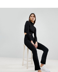 Asos Tall Premium Leggings In Rib With Ruffle Tipped Hem