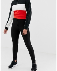 Noisy May Rib Legging With Exposed Zip