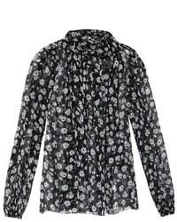 Dolce & Gabbana Tie Neck Daisy Print Blouse