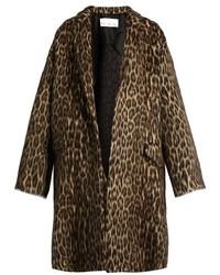 Raey Ry Leopard Print Wool Blend Blanket Coat
