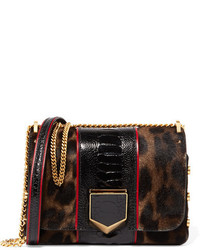 Jimmy Choo Lockett Petite Ostrich Trimmed Calf Hair Shoulder Bag Leopard Print