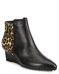 Black Leopard Leather Ankle Boots