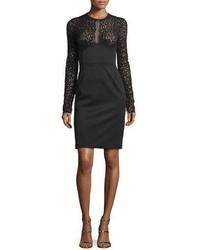 Roberto Cavalli Leopard Lace Sheath Dress Black