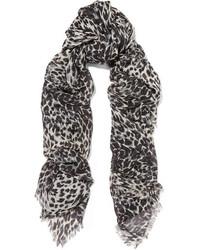 Saint Laurent Leopard Print Cashmere And Silk Blend Scarf Gray