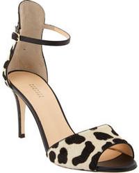 Black Leopard Suede Heeled Sandals