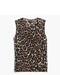 J.Crew Lightweight Wool Jackie Sweater Shell In Leopard
