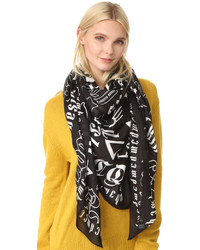 MCQ Alexander Ueen Gothic Text Square Scarf
