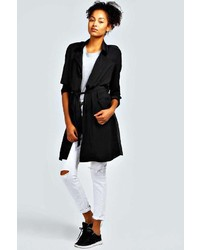 Black Linen Trenchcoat