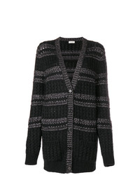 Saint Laurent Cable Knit Striped Cardigan
