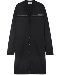 Prada Oversized Intarsia Wool Blend Cardigan