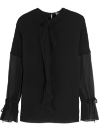 3.1 Phillip Lim Ruffled Crepe And Silk Georgette Blouse Black