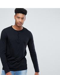 ASOS DESIGN T Sleeve T Shirt With Grandad Neck In Black