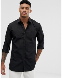 Hugo Elisha01 Tonal Logo Extra Slim Fit Shirt In Black