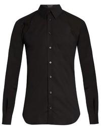 Alexander McQueen Harness Long Sleeved Stretch Cotton Shirt
