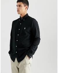 Polo Ralph Lauren Slim Fit Pique Shirt With Collar In Black
