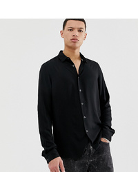 ASOS DESIGN Tall Regular Fit Viscose Shirt In Black