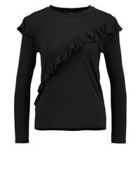 Topshop Long Sleeved Top Washed Black