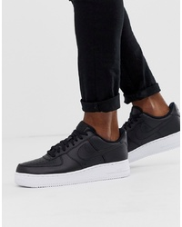 Nike Air Force 1 07 Trainers In Black With White Sole