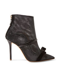 Malone Souliers Claudia 100 Velvet And Med Point Desprit Mesh Ankle Boots