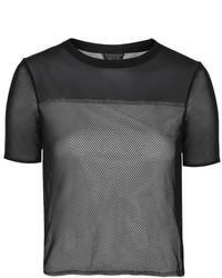Black Mesh Crew-neck T-shirt