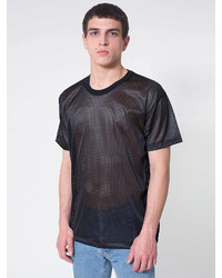 Black Mesh Crew-neck T-shirt