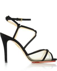 Isadora crystal embellished suede and mesh sandals black medium 134120