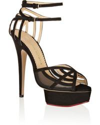 Octavia suede and mesh platform sandals black medium 134116