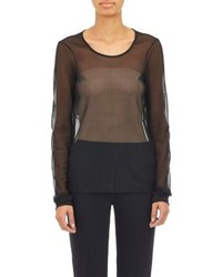 Black Mesh Long Sleeve T-shirt