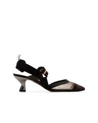 Fendi Black Colibri 55 Mesh Vamp Leather Slingback Pumps
