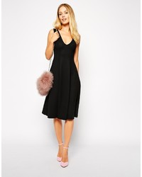 76c6b7ae90b5 ... Asos Collection Midi Skater Dress With Deep V Neck In Texture