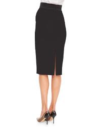 ... L Wren Scott Back Slit Midi Pencil Skirt Black ... 6ccd874b197