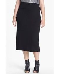 Eileen Fisher Jersey Midi Skirt Black 1x
