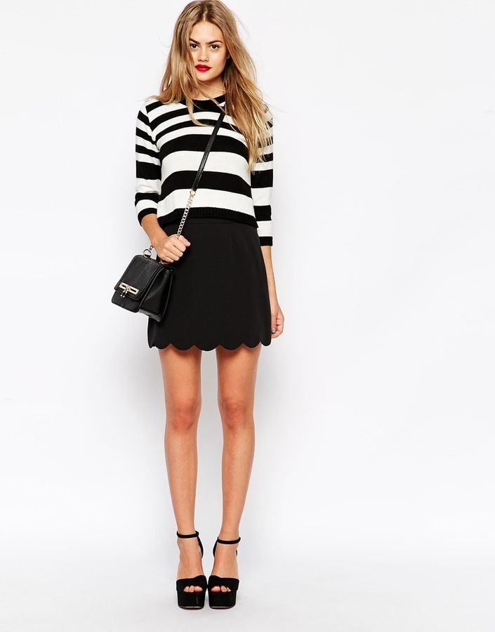 Asos Collection A Line Mini Skirt With Scallop Hem | Where to buy ...