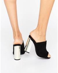 Missguided Gold Block Heeled Mule