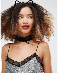 Missguided Bow Lace Choker Necklace