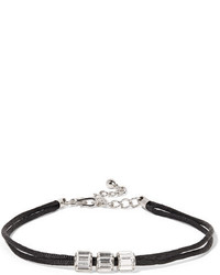 Kenneth Jay Lane Cord Silver Tone And Crystal Choker Black