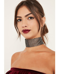Missguided Black Wide Diamante Choker Necklace