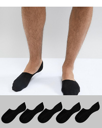 New Look Invisible Socks In Black 5 Pack