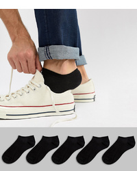 ASOS DESIGN Trainer Socks In Black 5 Pack