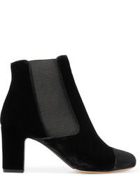 Tabitha Simmons Micki Nubuck Paneled Velvet Ankle Boots Black