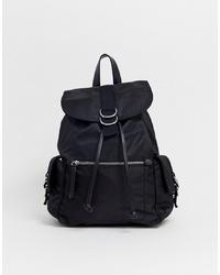 Pull&Bear Nylon Backpack In Black
