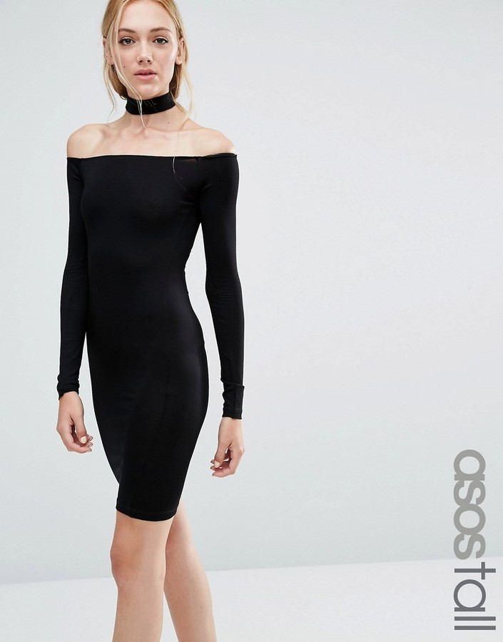 87572e3110b94 ... Black Off Shoulder Dresses Asos Tall Asos Tall Long Sleeve Off The  Shoulder Bardot Mini Bodycon Dress With Choker Collar ...