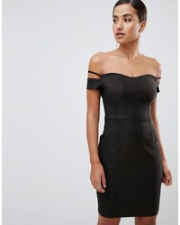 Vesper Bardot Mini Glitter Dress With Sleeve Detail In Black