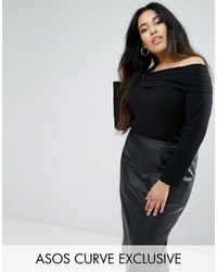 Asos Curve Curve Off Shoulder Top With 34 Sleeve
