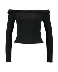 New Look Frill Edge Fitted Bardot Long Sleeved Top Black