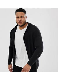 ASOS DESIGN Plus Knitted Hooded Cardigan With Curved Hem In Black