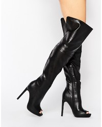 Missguided Over The Knee Boot With Peep Toe