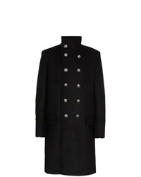 Balmain Double Breasted Wool Cashmere Blend Military Coat